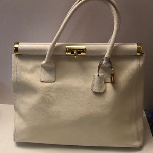 Handbags - Vintage genuine leather Italy white tote bag